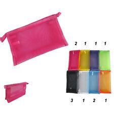 12pcs Women Assorted Solid Mesh Mix Colors Make up Cosmetic Bag Pencil Case Lot