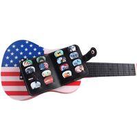 Guitar Picks Package 16 Holes Ukulele Black Pick Bag Leather Music Accessories