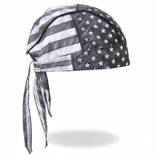 Faded Gray USA American Flag Premium Head Wrap Biker Durag Sweatband Mesh Lined