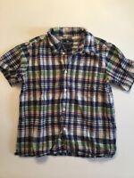 Boys AMERICAN LIVING Button Down Short Sleeve Plaid Checkered Shirt Size 7