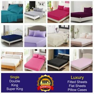 New Fitted Sheet Flat Bed Sheets 100% Poly Cotton Single Double King Superking