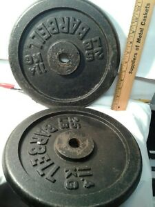 "2 vintage cast metal iron 25lb BARBELL WEIGHTS 1"" hole (50lbs total) weightlifti"
