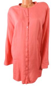 Eileen fisher pink scoop neck button down linen blend long sleeve top 3X