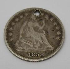 ** Pré-guerre civile de monnaie ** - USA 1858 Argent Assis liberté Demi Dime charme
