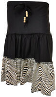 NEW LADIES LAYERED STRIPE PRINT BEADED TIE KNEE LENGTH SKIRT S/M M/L & XL