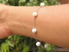 White Cultured Freshwater Pearl Tincup Bracelet 7-8mm 925 SOLID Sterling Silver