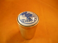 Vintage Brass trinket box with porcelain inlay of a gold fish delft blue lid