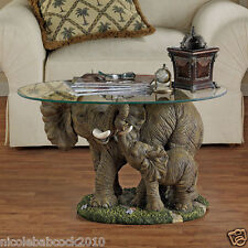 19 th century African 3D  Elephant MOTHER AND BABY SCULPTURAL TABLE W/ GLASS