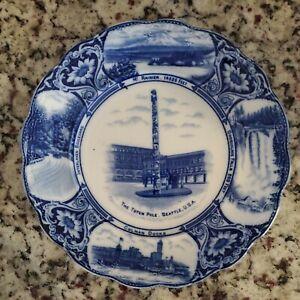 Antique Flow Blue Seattle Rare Souvenir Plate F.W. & Co. England-1800's