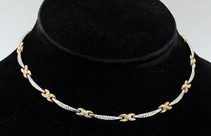 14K 2-tone gold elegant high fashion fancy link formal necklace