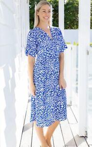 NEW FREEZ BLUE & WHITE RAYON DRESS SIZES 8/S & 14/XL