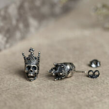 Retro Solid 925 Sterling Silver King crown Skull Stud Earrings Punk Gothic