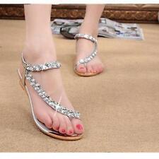 Woman Summer Sandals Rhinestone Flats Women Platform Wedges Shoes Flip Flops  S1