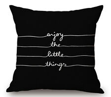 Black Quotes Cotton Linen Throw Pillow Cover Sofa Waist Cushion Case Home Decor