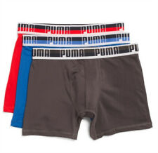 Puma Men's Performance Boxer Brief 3 Pack Underwear Red Blue Charcoal Size M