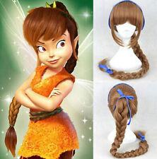 Tinker Bell Disney Princess Cosplay Party Wig Brown Ponytail Wig+FREE WIG CAP