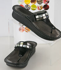 Alegria Women's 7B Black Leather with Oyster Shell Bling Flip Flop Wedge CAR-611