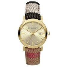 Burberry Women's Swiss Gold Tone The City Housecheck Fabric Strap Watch BU9041