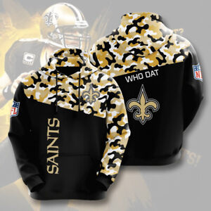 New Orleans Saints Hoodies Casual Hooded Sweatshirts Pullover Fan's Jacket Coat
