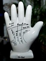 The HAND LIFE LIKE LIGHT GRAY GLOSSY CERAMIC PALM with MYSTIC TAROT OCCULT LINES