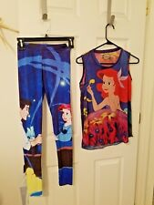 DISNEYJunior Girls Size Small 2 pc Pajama Set Ariel Prince Eric Little Mermaid