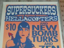 SUPERSUCKERS HELLACOPTERS NEW BOMB TURKS SILKSCREEN POSTER SIGNED 1999