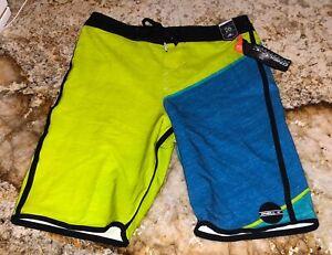 ONeill Hyperfreak Lime Blue Black Board Shorts Swim Trunks NEW Boys 10 25 12 26