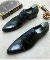 Men's Handmade Two Tone black and blue Leather derby lace up shoes