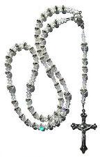 Silver Sparkling Rhinestone Catholic Rosary Beads Made w/Crystals from Swarovski