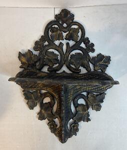 Vintage Ornate Cast Iron Wall Shelf Indoor/Outdoor Leaves Plant Holder READ!!!
