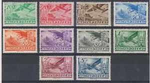 HUNGARY 1936 AIRPLANE Sc C35-C44 Yvert PA35-44 FULL SET HINGED MINT F,VF €50.00