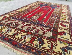 "1930s Antique Wool Pile Vegy Dye Tribal Prayer Rug 4'8""×8'6"""