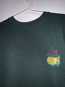 Vintage 1996 The Masters Augusta Green Short Sleeve T-Shirt Size M Golf