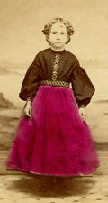Civil war era Antique CDV Photo Colored Lovely young girl fashion by BENNETT NY