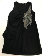 Womens MISS ME Black Embellished Beaded Gold Gray Feather Wings Tank Top Size Sm