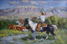 Cowboys at Working, Quality Hand Painted Oil Painting 24x36in