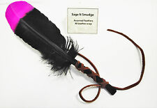 Smudging Feather Smudge Sage Feather Fan Wafting Multi Color Pink and Black