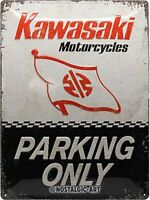 Kawasaki Motocicletas Parking Only con Relieve Acero Signo 400mm X 300mm (Na )