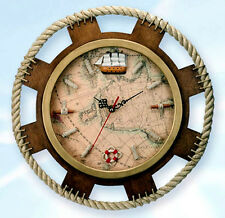 "Nautical Wood And Rope Trimmed 15""  Wall Mount Clock With Map Background"