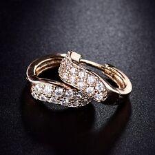 18k Gold Filled Womens Swarovski Crystal Vintage Hoop Stud Earrings Jewellery