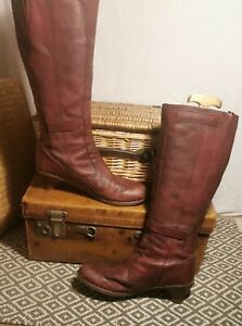 Dr Martens Amber Red Leather Knee High Heel Boots UK Good Used Condition