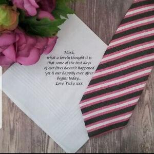 Personalised handkerchiefs uk bride for groom gifts custom wedding mens cotton