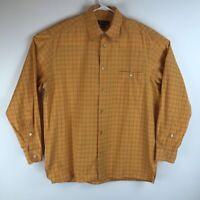 Ermenegildo Zegna Mens Button Front Shirt Orange Plaid Long Sleeve Pocket L