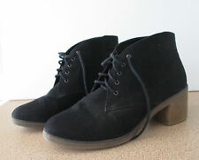 Girl Express Size 10 Lace Up Ankle Shoe Boot Black Block Heel Suede Look