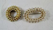 2 Vintage Faux Pearl Circle / Oval Pins Brooch