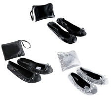 Roll Up Satin Sequin Shoes Fold Up Flats Ballet Ladies After Party Shoe With bag