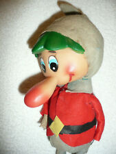"Rare Vintage Antique 11"" Elf Plastic Face Long Nose Felt Clothes Missing Hands"
