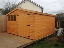 """12x12 Apex double doors 13mm t+g cladding 3""""X2"""" frame 1""""thick floor free erect"""