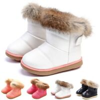 Kids Baby Toddler Boys Girls Leather Winter Bootie Warm Fur Snow Shoes Boots New