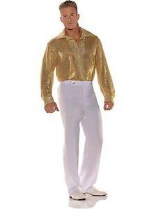 70S 80S MENS MALE DISCO SEQUIN COSTUME SHIRT DANCE FEVER SATURDAY NIGHT PIMP